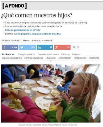 Artículo de EL PAÍS sobre comedores escolares